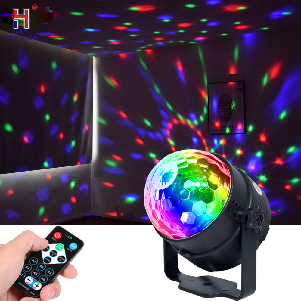 3W RGB LED Crystal Magic Ball Led Disco Light Stage Lights DJ Disco Ball Sound Activated Laser Projector Effect Lamp Light