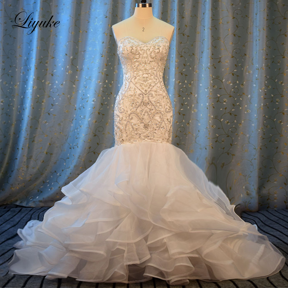 Liyuke Embroidery Mermaid Wedding Dress New Sweetheart Luxury Appliques Beading  Off The Shoulder Bride Dress robe de marriage-in Wedding Dresses from Weddings & Events