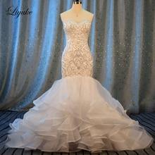Liyuke nakış Mermaid düğün elbisesi yeni sevgiliye lüks aplikler boncuk kapalı omuz gelinlik robe de evlilik