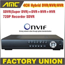 Upgrade 720P SDVR HVR/NVR/DVR All In One CCTV 4CH H.264 DVR Security System 1080P HDMI Output DVR Super 4 channel support Onvif