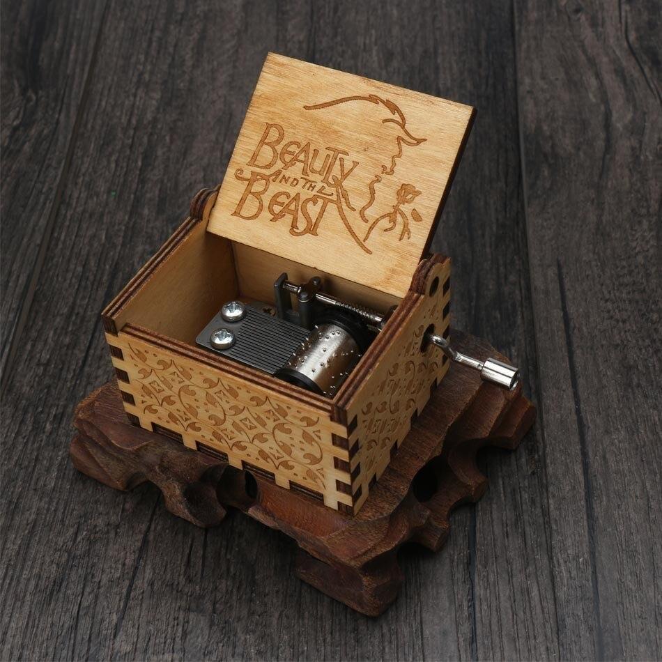 Прямая, деревянная музыкальная шкатулка ручной работы, рисунок Звездные войны, Juego De Tronos, рождественский подарок, подарок на год, подарок на день рождения - Цвет: 7