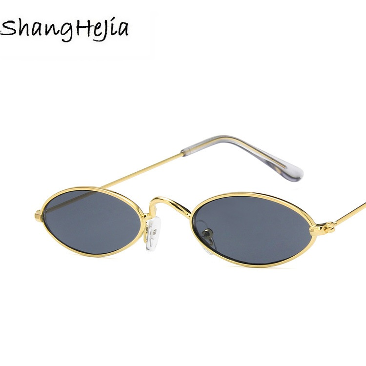 2018 small oval sunglasses for men male retro metal frame yellow red vintage small round sun