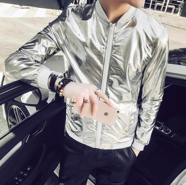 5XL Summer Men Bomber Jacket Fashion 2018 Slim Fit Sun Protection Clothing  Silver Shining Jackets Mens Plus Size Stage Coats Man 6936ec29a