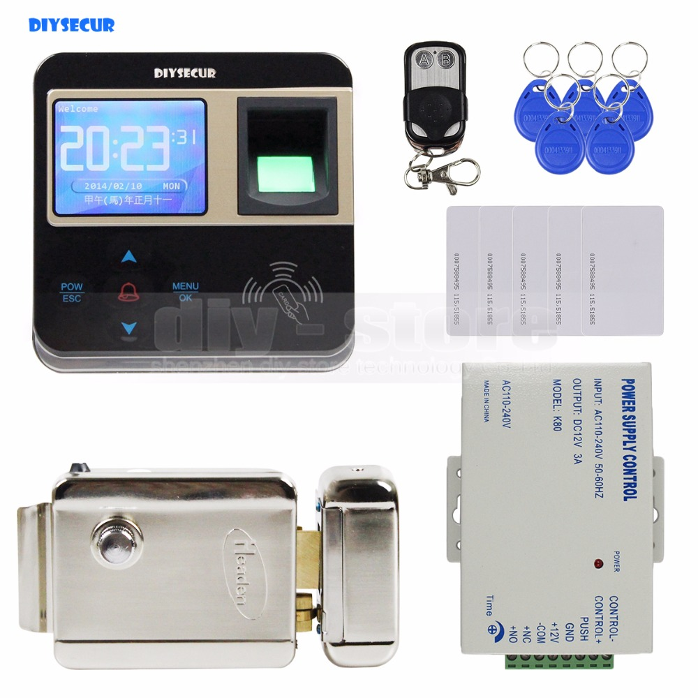 DIYSECUR Fingerprint 125KHz ID Card Reader Electric Lock Door Access Control System Kit + Remote Control diysecur magnetic lock door lock 125khz rfid password keypad access control system security kit for home office
