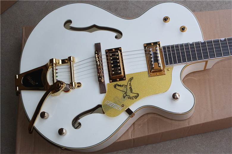 Korean Tuners Ebony Fretboard Custom Shop White Gretsch Falcon 6120 Semi Hollow Body Jazz Electric Guitar 16704