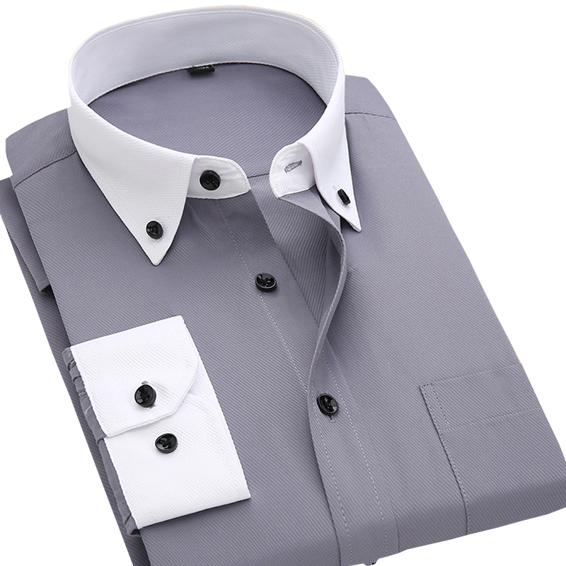 Spring Summer 2017 new Patchwork white button down collar long sleeve twill business formal mens dress shirts solid men 's top