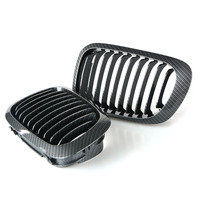 SUGERYY 1 Pair For BMW E46 3 Series 2 Door 1999 2002 Front Center Kidney Grilles Carbon Black 1999 2002 Car Grill Car Styling