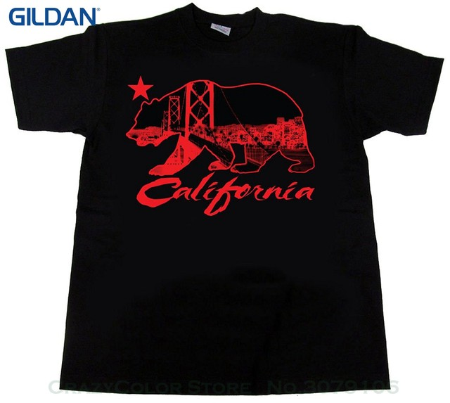 12d52d34b72 Men Brand Printed 100% Cotton Tshirt California T Shirt Cali Republic Bay  Area Bay Bridge Skyline Ca Sf San Francisco