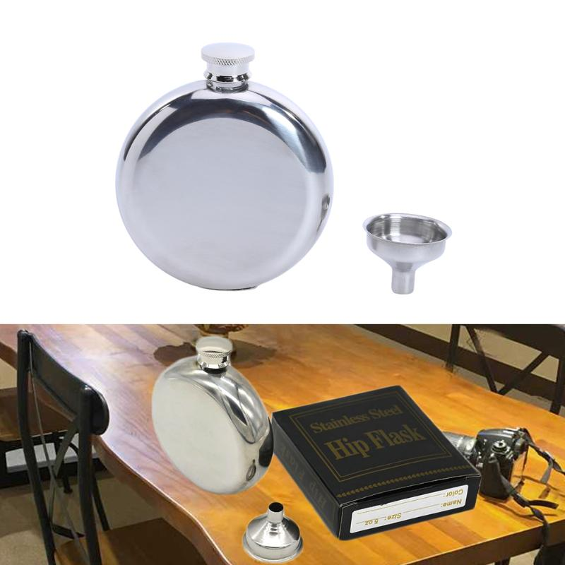 5 oz Mens Round Hip Flasks Stainless Steel Whisky Alcohol Bottle with Funnel Outdoor Drinkware Wine Bottle Gifts
