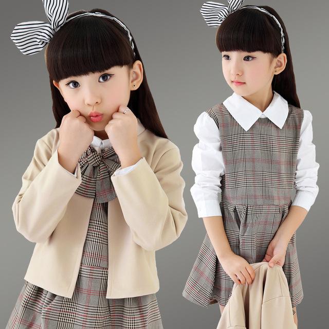 Uniforme escolar meninas 4-13 t outono duas peças/conjuntos de novas crianças, as crianças usam saias durante o período de primavera e outono