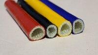 1 м 6 мм Диаметр Красный Черный высокотемпературный огнестойкий корпус трубный кабель рукав утолщяющая изоляция силиконовая Стекловолокон...