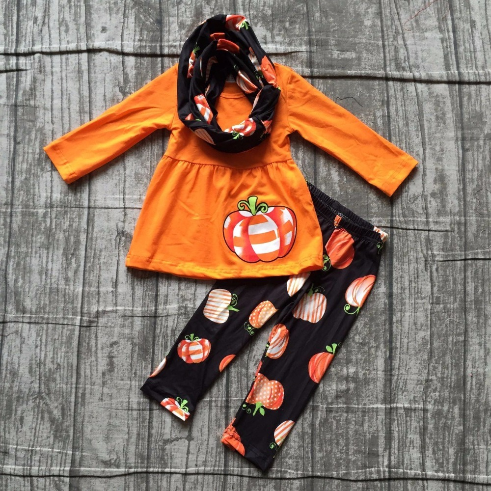 girls Winter outfits 3 pieces with scarf sets Halloween clothes children girls orange top with pumpkin sets pumpkin pants sets halloween orange petal pettiskirt with matching white long sleeve top with orange ruffles