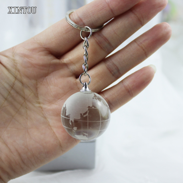 Xintou crystal glass globe world map ball key chain white feng shui xintou crystal glass globe world map ball key chain white feng shui hanging pendants crafts child gumiabroncs