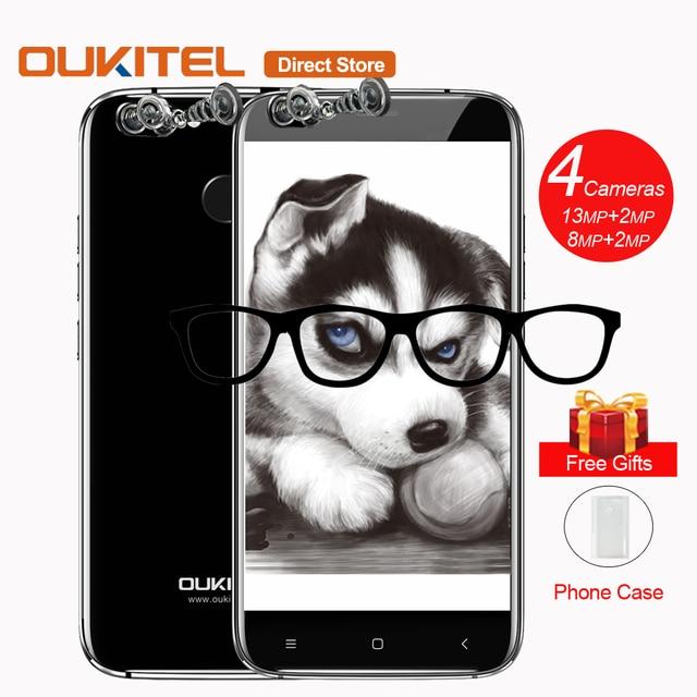 Oukitel U22 четырьмя камерами Смартфон Android 7.0 mtk6580a quad-core 2 ГБ Оперативная память 16 ГБ Встроенная память 13MP 5.5'' 2700 мАч fingerprin мобильного телефона