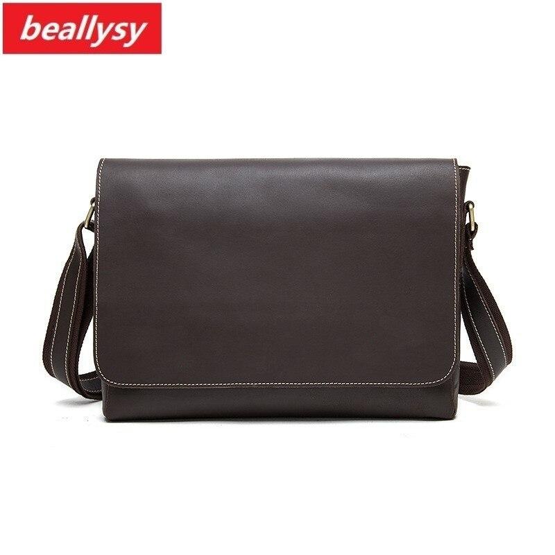 crazy horse Genuine cowhide Leather Men's Briefcase Portfolio Satchel Shoulder Bags For Men Bag messenger crossbody Laptop Bag