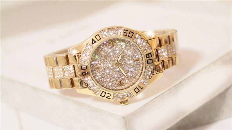 Dress Women Watches Stylish Crystal Rhinestones Quartz Wristwatch Lady Party Bracelet Bangle Relogio Casual Watch Ladies Watch 3