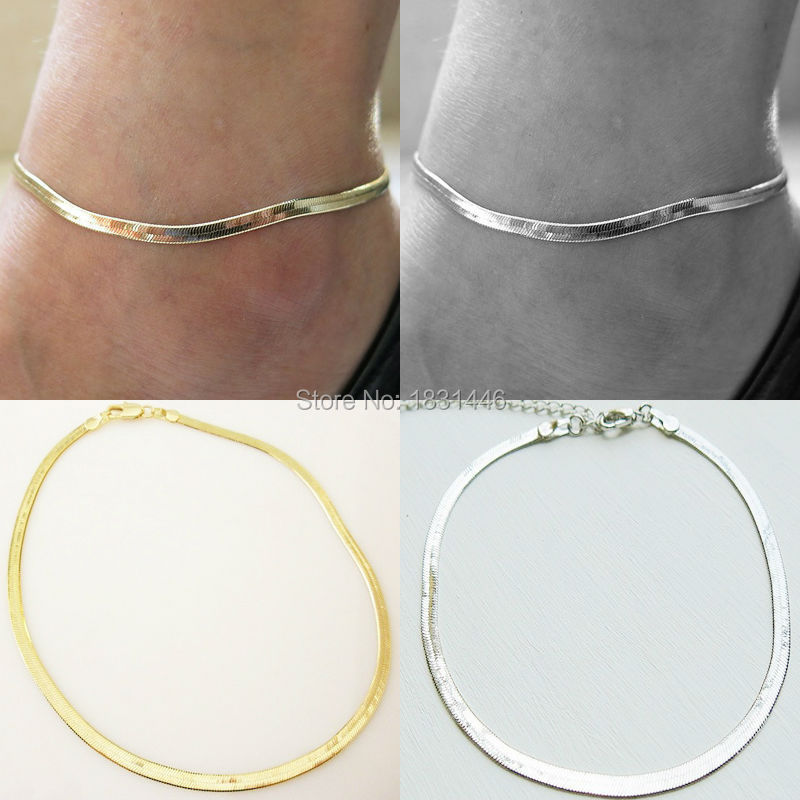 Women Sexy Barefoot Sandals Silver Gold Elastic Chain Ankle Bracelet Anklet Foot font b Jewelry b
