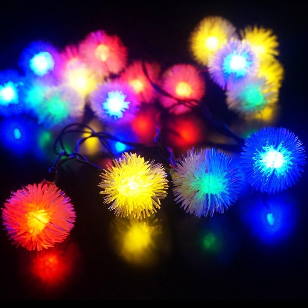 Waterproof Solar Powered Hair Ball Led String Light 6M 30Leds Xmas String Light For Garden Backyard Patio Outdoor String Light
