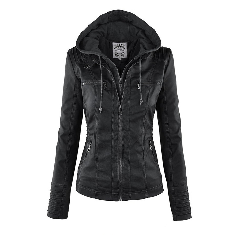 2016 New Autumn Fashion Women's Casual Hooded PU Leather Jacket Zipper Ladies Jackets Good Quality Solid Zippers Coat Ladies Hot
