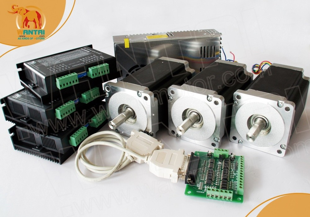 (Ship from Germany &Free ship to Germany) 3 Axis Nema 34 Wantai Stepper Motor 1600oz,3.5A Dual Shaft CNC Laser, 3D Printer