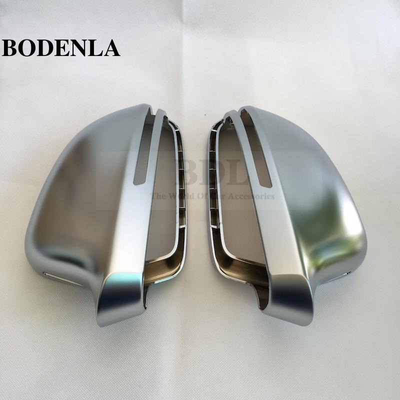 BODENLA Matt Chrome Mirror Cover Rearview Side Mirror Cap S Line Lane Change For Audi A4 B8 A5 8T A6 C6 Q3 A3 8P-in Mirror & Covers from Automobiles & Motorcycles