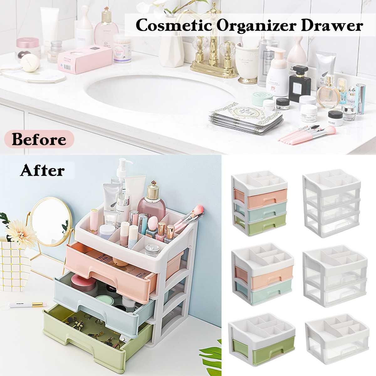 Triple Layer Plastic Comestics Make Up Storage Drawer Box Desktop Sundries Storage Case Holder Home Office Display Organizer soccer-specific stadium