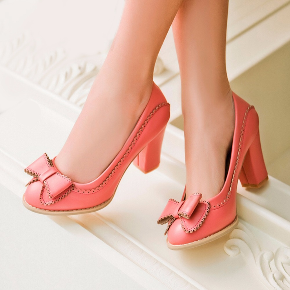 SARAIRIS 2019 Big Size 43 5 Colors Women Pumps Sweet Bow Shoes Vintage High Heels Party Wedding Prom Footwear Women Shoes Woman