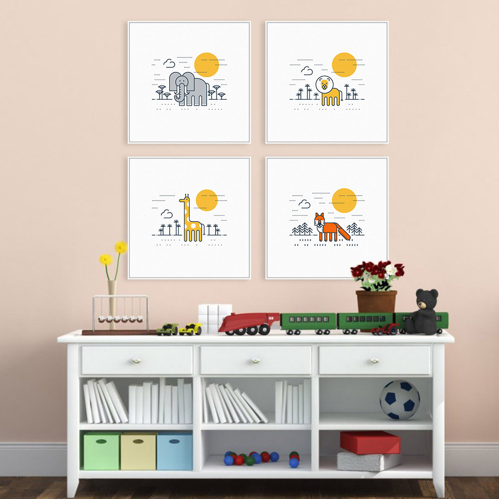 Online coloring room - Colorful Cartoon Animals Zoo Giraffe Lion A4 Art Prints Poster Kawaii Wall Picture Canvas Painting No