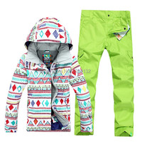 Blast Sale Free Shipping Hot Sale Lady Geometric Shape Snowboard Ski Suit Jacket Clothes Sets Pants