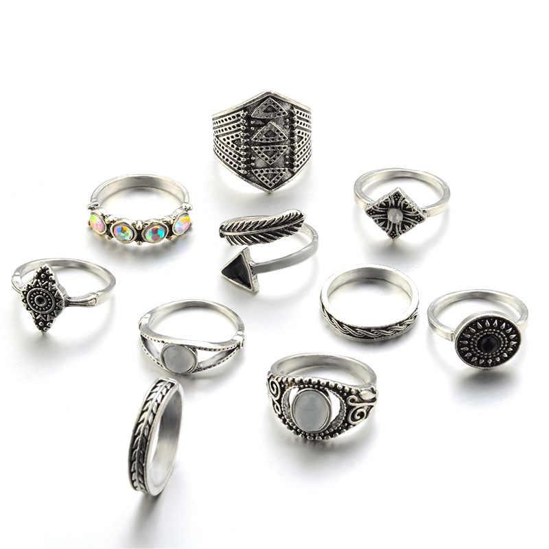 โบฮีเมียน10ชิ้น/แพ็ควินเทจสีฟ้าหินแหวนโชคดีซ้อนMidiแหวนชุดK Nuckleแหวนแหวนสำหรับผู้หญิงเครื่องประดับพรรค