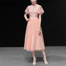Seifrmann New Women Spring Summer Dress Runway Fashion Designer Gorgeous Sequined Embroidery Mesh Overlay Elegant Party Dresses
