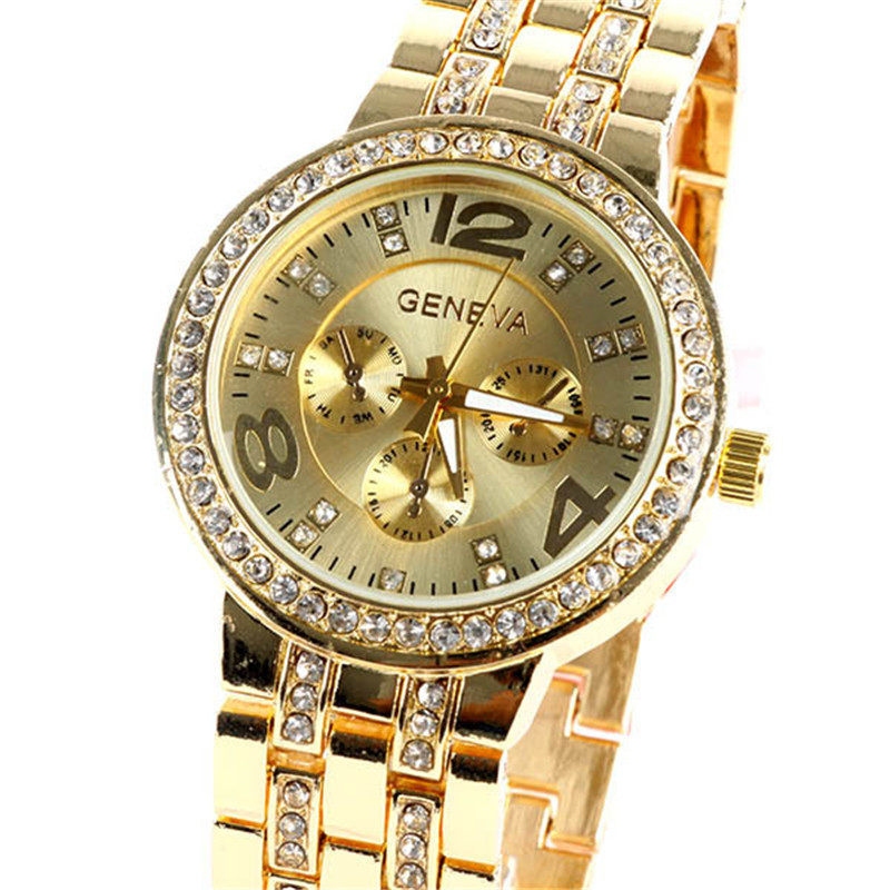 Luxury Brand Geneva Quartz Watch Women Bling Crystal Unisex Stainless Steel Fashion Ladies Golden Watches Relogio Feminino 2018 elegant brand digital watch geneva fashion women watches stainless steel quartz wristwatches unisex clock relogio feminino