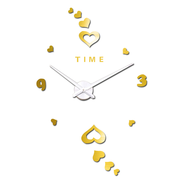 Time Letters Arabic Digital Heart Wall Clock Luxury Art Clock DIY 3D