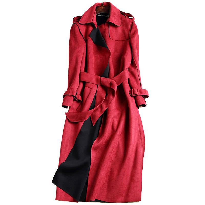 2019 Autumn New Elegant Red Suede   Trench   Coat Women Fashion Ladies Office Windbreaker With Belt Long Coat Women Outerwear C3487