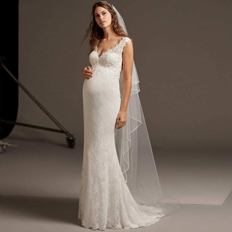 women pregnant Wedding Dresses Sweetheart  (5)
