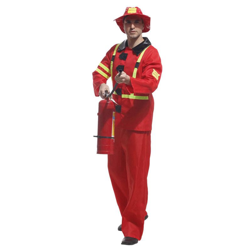 Umorden Adult Male Firefighter Cosplay Fireman Firemen Costume Uniform for Men Halloween Carnival Party Costumes