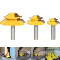 3pcs 45 Degree Lock Miter Router Bits 1 2 Shank Glue Joint Woodworking Cutter For Power