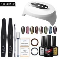 Modelones 36W Led Lamp UV Gel Polish Nail Manicure Set 5D Chameleon Cat Eyes Led Nail Gel Lacquer Base Top Coat Nail Tools Kits