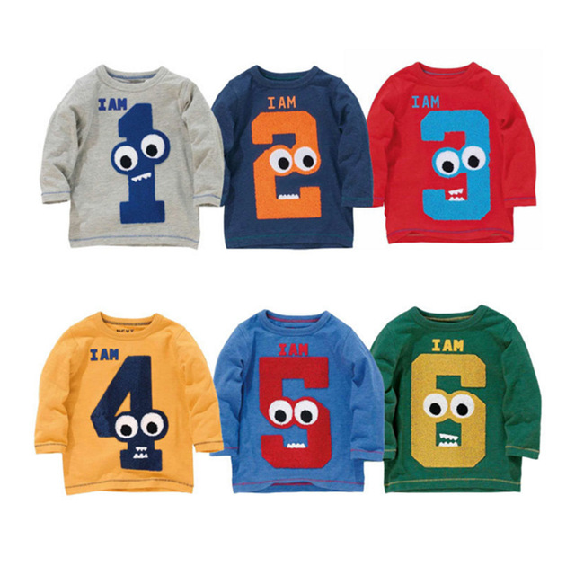 717bd3bd1 autumn spring cartoon boys t shirt long sleeve brand t-shirts for girls  cotton children boy clothes baby birthday 1-6 year shirt