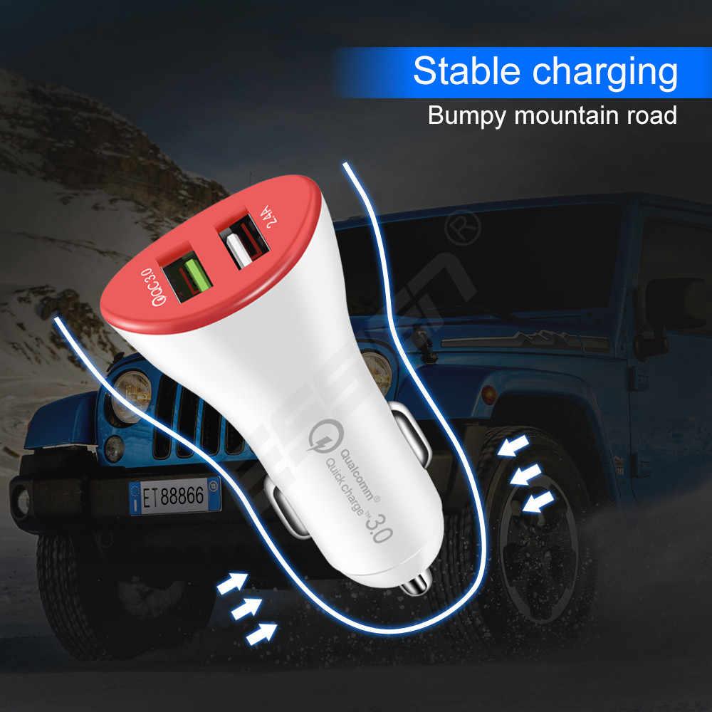 Essien Car Charger Kép USB Sạc Nhanh 3.0 đối với Iphone X 8 7 Samsung S8 S9 5 v/ 2.4A Nhanh Chóng Sạc cho Điện Thoại Di Động