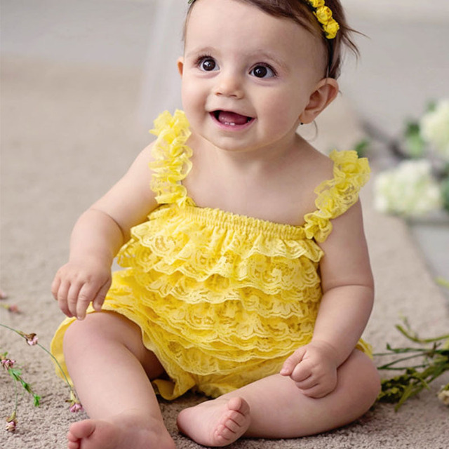 263de75234b Cute Baby Yellow Lace Romper Infant Toddler Petti Ruffled Strap Rompers One-Piece  with Flower Headband Newborn Cotton Jumpsuit