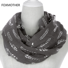 FOXMOTHER 2019 New Fashion Women Pink White Grey Wheat Bronzing Foil Sliver Ring Scarfs Loop Snood Foulard For Ladies