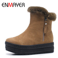 ENMAYER Winter Women's Boots Brown Black Zip Cow Suede Round Toe Ankle Height Increasing Flock Women Shoes Fashion Ladies Boots