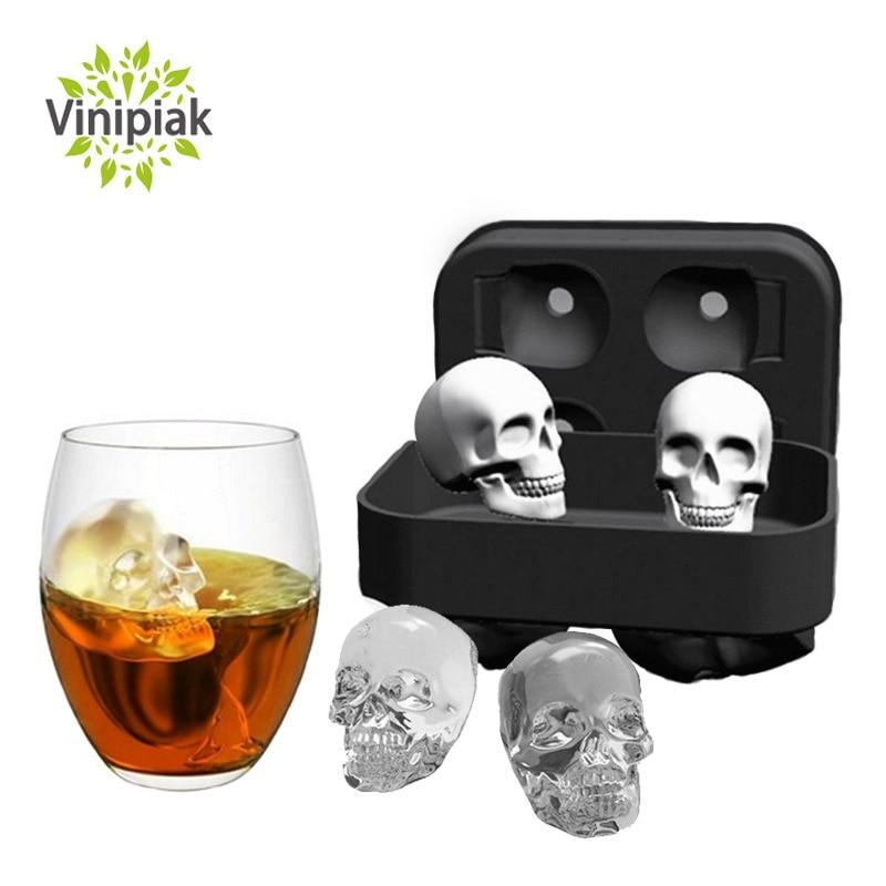 2018 neue Silikon Formen 3D Schädel Eiswürfelform Maker Küche sommer Schokolade Eiswürfelschale Bar Party Whisky Wein Eiswürfel Werkzeug