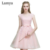 Lamya Giá Rẻ Vintage Ngắn Buổi Tối Ăn Mặc Phụ Nữ 2018 Ren Tulle Appliqued Prom Dress Elegant Đảng Gown Zipper Vestidos De Novia
