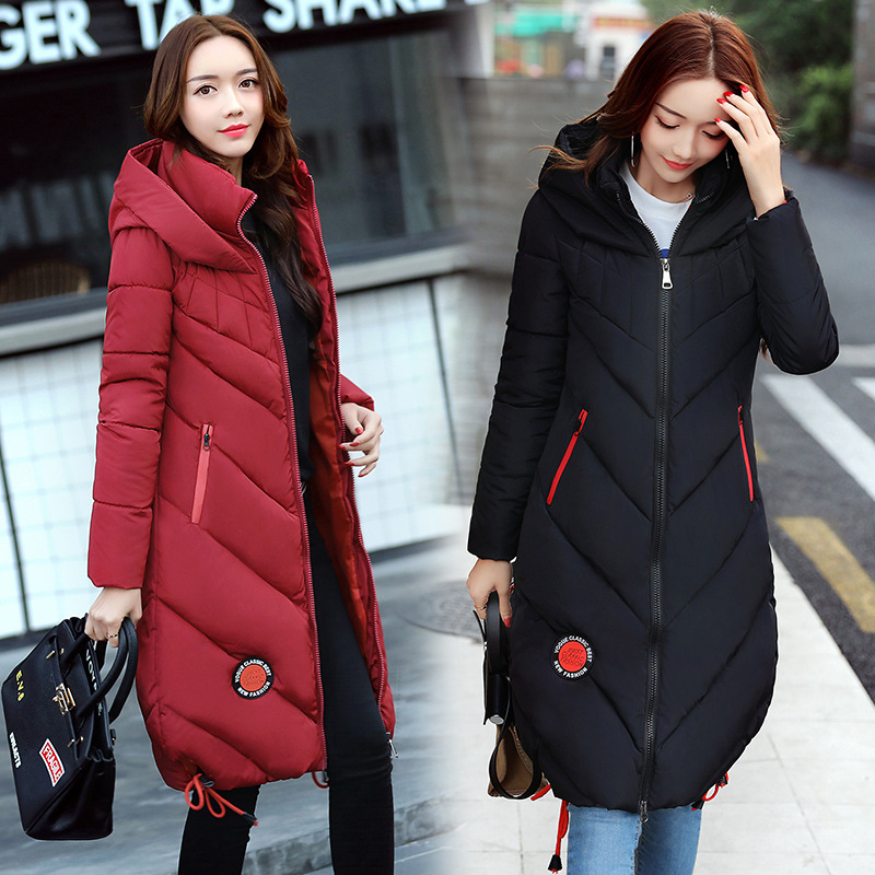 2017 Winter New Fashion Female Cotton-padded Hooded Long Parkas Coats Women Thick Warm Long Sleeve Zipper Jackets 5 Color M-3XL 2017 new fashion women long cotton coats size s 2xl hooded collar warm parkas winter black navy green color woman parkas qh0449