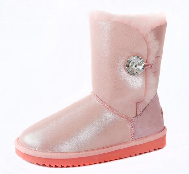 top quality women snow boots Rhinestone button ladies shoes round toe flats ankle boots for women winter shoe Waterproof leather women winter flats genuine leather round toe match colored buckle rhinestone fur fashion ankle snow boots size 35 39 sxq0826
