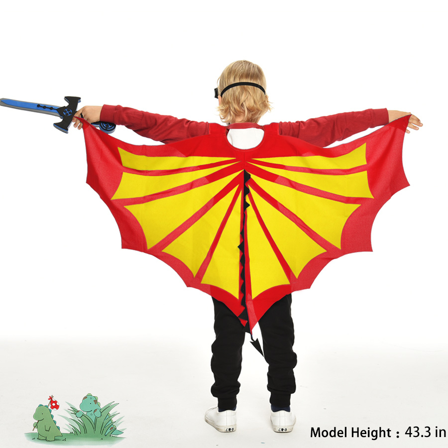 Eriline 120 * 70 cm punane-kollane šarjäär Dino tiibade mask - Kostüümid - Foto 1