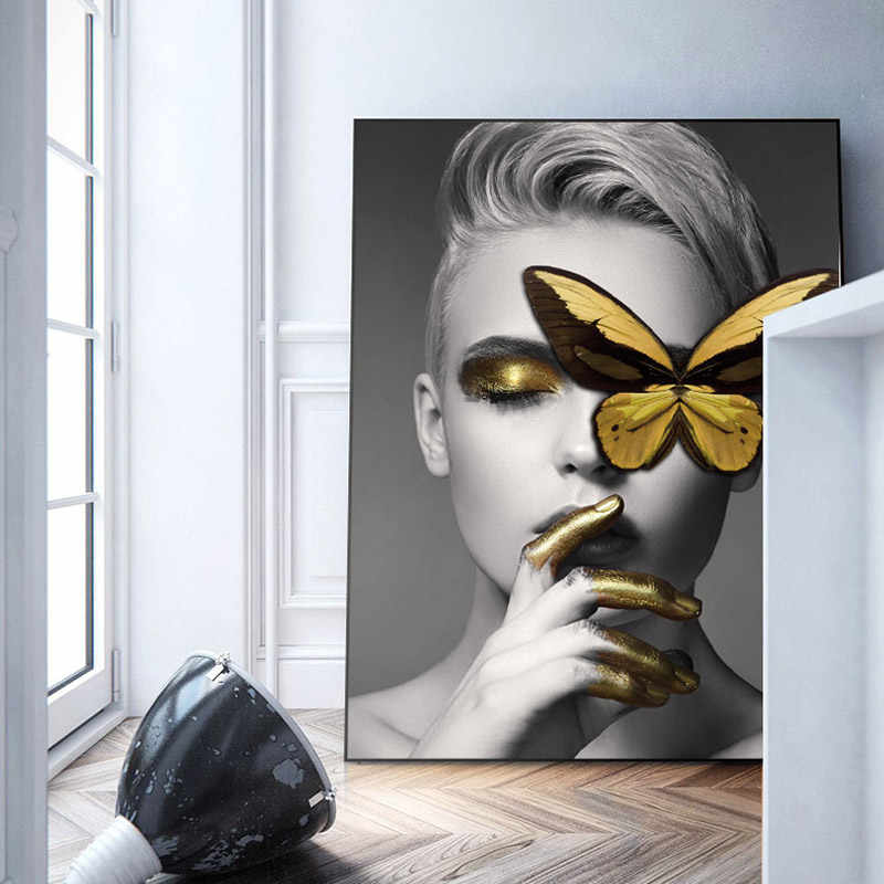 74f9892bb Modern Black White Sexy Charming Woman Lip Beauty Canvas Painting Fashion  Butterfly Wall Art Picture For