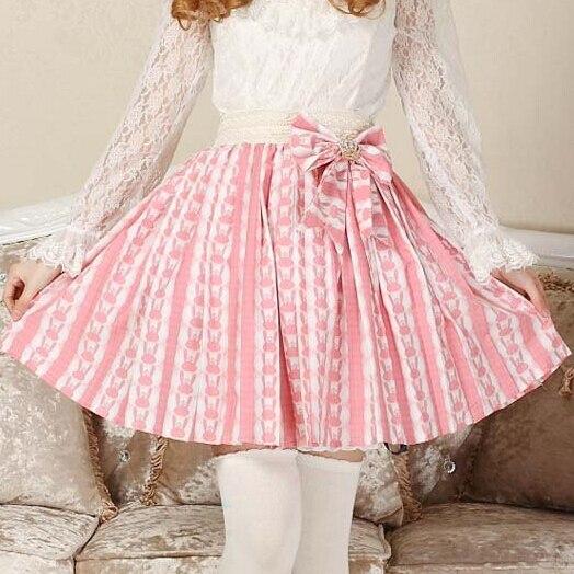 Super Cute Lolita Pink Bunny Print Bow Decoration Skirt Princess Sweet  original design Rabbit Pleated Women Summer Kawaii Skirts a8674b63a